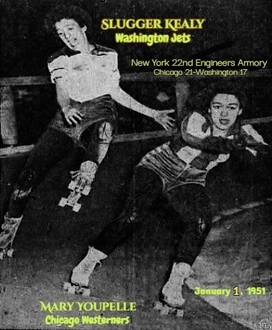 Image of a roller derby exhibition at the New York 22nd Engineers Armory on January 1, 1951, showing Slugger Kealy of the Washington Jets on the banked curve about to fall, and May Youpelle of the Chicago Westerners in front of her. From The Newport Daily Express, Newport, Vermont, January 2, 1951.