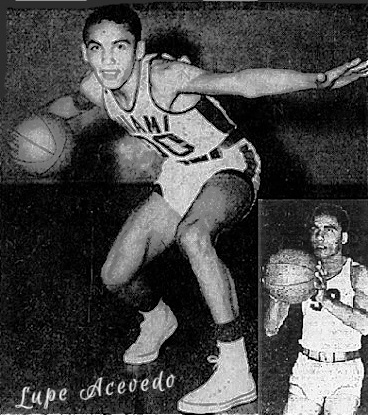 Two views of Lupe Acevedo, basketball player for the Miami High School Vandals basketball team in Arizona. One, posing, dribbling while guarding with outstretched left arm, the other shown foul shooting. Both are from The Arizona Republic,  Ohoenix, Ariz. The first from February 27, 1950, the latter from January 11, 1952.