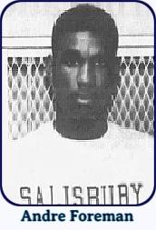Shoulder shot of men's basketball player, Andre Foreman, Salsbury State University, in SALISBURY sweatshirt. From The Daily Times, Salisbury, Maryland, Feruary 21, 1992.