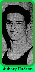 Portrait image of Aubrey Hudson, boys basketball player for Georgetown High School in Delaware. From the Wilmington Morning News, Wilmington, Delaware, March 10, 1951.