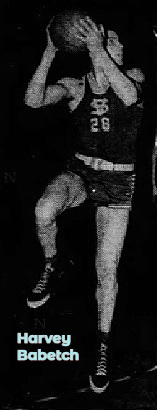 Photo of boys basketball player, Harvey Babetch, Von Steuben High School (Illinois), #28, up in air, right knee bent, ball to his side, looking to his left, about to shoot. From the Chicago Tribune, March 1, 1950, Chicago, Illinois.