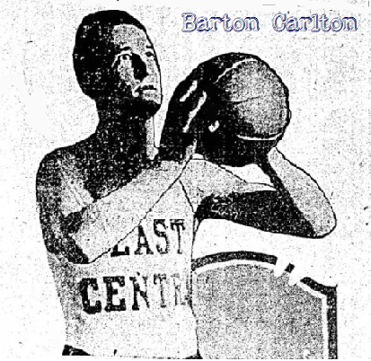 Image of Barton Carlton, basketball player for East Central Teachers College (Ada, Oklahoma) shooting a set-shot, in his East Central uniform. From The Daily Oklahoman, January 20, 1930.