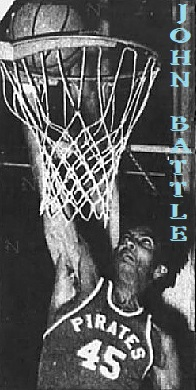 Picture of boys basketball player, John Battle, Cathedral High School (Illinois),, in a PIRATES #45 uniform, about to dunk. From the Chicago Tribune, Chicago, Illinois, December 23, 1985