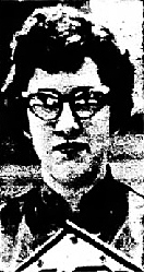 Portrait of girls basketball player, Bev Brown, West Branch High School (Iowa), wearing glasses. From The Muscatine Journal, Muscatine, Iowa, February 12, 1962.