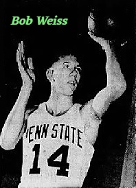 Image of basketball player, Bob Weiss, Calkins-Vickery team of Troy, Pennsylvania, as Penn State player, shooting a left hand shot. FRom The Evening Times, Sayres & Atens, Pa., MArch 20, 1965.