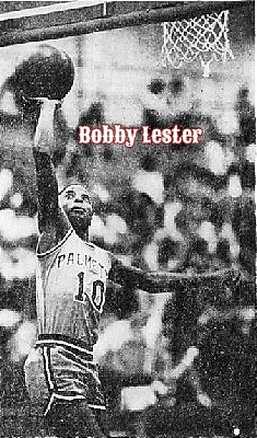 Image of boys basketball player, Bobby Lester, Palmetto High School, Florid, anumber 10, up by the basket with the ball in right hand. From The Miami Herald, Miami, Flaorida, December 12, 1979. Photo by Bob East.