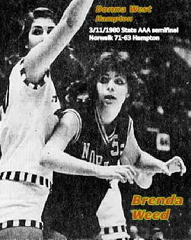 Iowa girls basketball player, Brenda Weed, looking for a pass while guarded by Hampton High's Donna West, in the State Class AAA Tournament semifinal game on 3/11/1980. Final score: Norwalk 71 - Hampton 63. From the Waterloo Courier, Waterloo, Iowa, 3/12/1980.