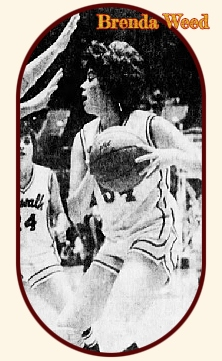Brenda Weed, #54, Norwalk High School Warriorette (Iowa) looking to pass the ball to our let during the 3/15/1980 State AAA championship game (Ankeny won game 71 to 69. From the Waterloo Courier, March 16, 1980.