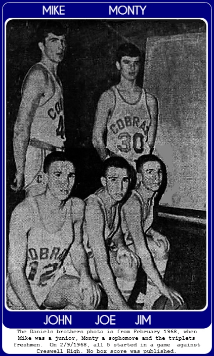 Image from the Star-Gazette, Elmira, New York, February 22, 1968, of five basketball playing brothers on the Central Linn High School team. Standing (on our left) is Mike Daniels, who in 1967-68 was a junior. Next to him is Monty Daniels who was a sophomore. Kneeling below are the freshmen triplets, John, Joe and Jim. On Feb. 9, 1968, all five started a game against Creswell High. No box score was published..