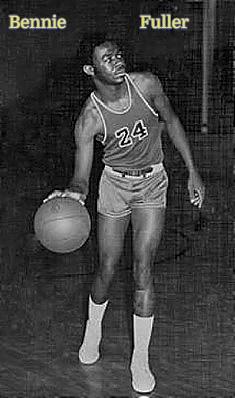 Bennie Fuller, number 24, boys basketball player, Arkansas School for the Deaf, dribbling the basketball.