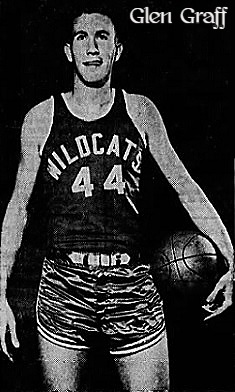 Image of Glen Graff, who played badketball for the Dupo High School WIldcats (Illinois) and the Louisiana College Wildcats. Pictured in a WILDCATS uniform, number 44. From the Alexandria Daily Town Talk, Alexandria-Pineville, Louisiana, February 27, 1869,