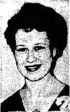 Portrait of Carolyn Heckman, Oakland High School (Iowa) girls basketball player. From the Mason City Globe-Gazette, Mason City, Iowa, March 11, 1955.
