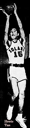 Image of boys basketball player, Howie Tan, Iolani High School (Hawaii), #16, shooting a jump shot. From the Honolulu Star-Bulletin, Honolulu, Hawaii, February 18, 1984.
