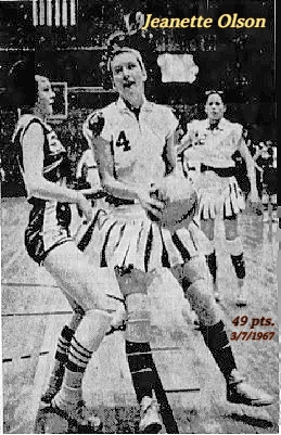 Image of Iowa girls basketball player, Jeanette Olson, in her March 7, 1967 playoff game where he scored 49 pts. Shown in #4 uniform (with pleated skirt) trying to get around the Lynnville-Sully defender. Olson's Everly team won 73-62. From The Des Moines Register, Des Moines, Iowa, March 8, 1967. Photo by Jack Brinton