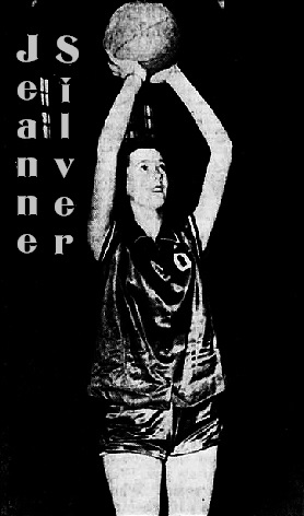 Picture of North Carolina girl basketball player, Jeanne Silver, Old Fort High School, holding ball high over her head preparing to shoot. From the Asheville Citizen-Times, Asheville, N.C., February 7, 1954. Kluttz photo.
