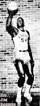 Image of Big Jim Barnes, posing in uniform (AGGIES #54) shooting a one handed set shot right-handed. From The Lawton Constitution, Lawton, Oklahoma, January 29, 1962..