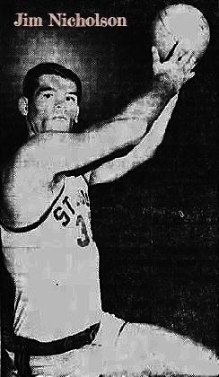 Image of boys basketball player Jim Nicholson, St. Louis High School (Hawaii) shooting a hook shot. From The Honolulu Advertiser, Honolulu, Hawaii, February 14, 1966.