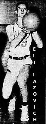 Posed image of Eli Lazovich taking a shot in his Miami High School Vandals (Arizona) boys bsketball team uniform, From The Arizona Daily Star, Tucson, Arizona, January 28, 1951.