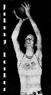 Picture of Delaware boys basketball player, Johnny Lesher, Claymont High School, shooting a two hand overhead jump shot. From The Evening Journal, Wilmington, Delaware, February 21, 1961.
