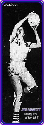 Picture of Joy Liggett, girls basketball player for Seymour High School, in Iowa, going up for a left hand shot with her left knee high up. Shown in the February 24, 1953 tournament playoff game where she scored 48 points. From the Des Moines Tribune, 2/25/1953, Des Moines, Iowa.