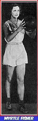 Image of state of iowa girls basketball player shown about to shoot a set shot in her uniform, a white blouse/cullottes. From the Des Moines Tribune, Des Moines, Iowa, March 21, 1933.