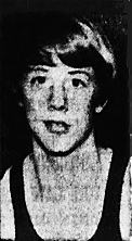 Portrait image of Pat Kenny, boys basketball player in the Meride, Connecticut Boys Club CUNO League. From The Journal, Meriden-Southington, Conn., February 2, 1974