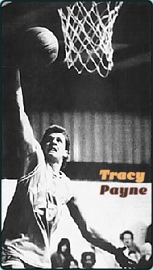 Image of Tracy Payne, New Port Richie Christian School's basketball player in his WARRIORS uniform, number 23, up near the basket, putting in a layup. From The Tampa Tribune - The Pacso Tribune, TAmpa, Florida, February 1, 1988.