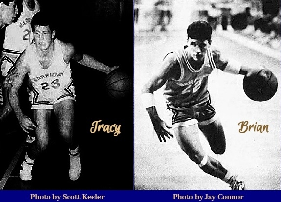 Composite image of two photos of the Payne brothers, boys basketball players on the New Port Richie Christian School Warriors team (Florida). Tracy Payne, shown in white uniform, number 23, dribbling with his left hand around Bayshore Christian's Chris Hernandez, in a 12/3/1987, and Brian Payne, in a dark uniform, number 22, also dribbling with his left hand in a different game. Tracy Payne's image is from the St, Petersburg Times-Pasco Times, New Port Richey-St. Petersburg, Florida, December 4, 1987, photograph by Scot Keeler; image of Brian Payne from The Pasco Tribune, TAmpa, Florida, March 5, 1988, photo by Jay Connor..