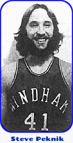 Image of basketball playerm Steve Peknik, Windham College in Vermont. With a bushy beard in uniform number 41.From The Battleboro Reformer, Battleboro, Vermont, February 24, 1977.