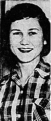 Portrait image of Texas girls basketball player, Alice Roemer of the Burton High Pantherettes, in a plaid shirt. From The Austin AMerican, Austin, Texas, February 12, 1955.