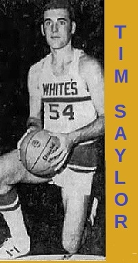 Image of boys basketball player from Indiana, Tim Saylor, who played for White's Institute, posing on one knee (his left), basketball in both hands, in WHITE'S #54 jersey. From The Indianapolis Star, Indianapolis, Indiana, February 17, 1971.