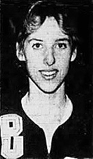 Portrait image of girls basketball player, Brenda Schlapkohl, Durant High School in Iowa. From the Muscatine Journal, March 5, 1982.