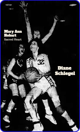 Photo by Carl Franks. Action image of Diane Schlegel, West Central High School of Maynard, Iowa, number 32, going in for  layup. One Sacred Heart HS guard's arms are high behind her in case of a pass, Sacred Heart guard, Mary Ann Hobart is to our left. Photo by Carl Franks, The Cedar Rapids Gazette, March 4, 1964. This is game where Schlegel scored 54 pts. in a District tournament consolation game win, 86 to 79.
