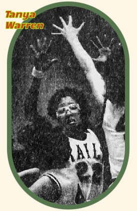 Image of Iowa girls basketball player, Tanya Warren, Lincoln High Railsplittr, on defense, with hands up, in #22 uniform. FRom The Des Moines Register, Des Moines, Iowa, February 18, 1983..