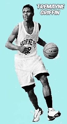 Image of Floridian boys basketball player Tremayne Griffin, Ruby J. Gainer High School, shown dribbling the ball in his white HORNETS jersey. From the Pensacola News Journal, Pensacola, Florisa, January 21, 2004. Photographer- Katie King