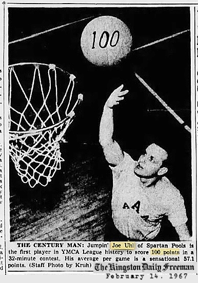 Clipping from the Kingston Daily Freeman, February 14, 1967, showing Jumpin' Joe Uhl holding a baskettball up near the basketball net, with '100' written on it. The text reads: THE CENTURY MAN: Jumpin' Joe Uhl of Spartan Pools is the first player in YMCA League history to score 100 points in a 32-minute contest. His average per game is a sensational 57.1 points. (Staff Photo by Kruh)