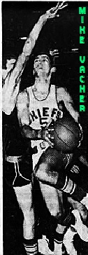 Image of boys basketball player Mike Vacher, Chamberlain High School (Florida), up in air, left knee bent, going up for a layup in his white #5 CHIEFS jersey. From The Tampa Tribune, Tampa, Florida, February 21, 1966.