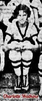 Image of girls basketball player Charlotte Watkins, cropped from team photograph, hands folded on knees as she sits looking straight ahead. Watkins played for Oxford High School in North Carolina, scoring 53 points in a January 10, 1925 game. This is from The News and Observer, Raleigh, North Carolina, March 23, 1925.