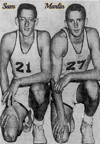 Image of Sam (#21 on left) and Marlin Wenger (#27 on right), side by side, right knees on ground, right hands on right knee, left arms folded, forearms on left legs, looking forward. From the Sunday News, Lancaster, Pennsylvania. Pequea Valley High School basketball players.