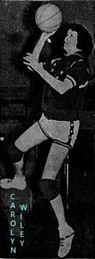 Image of sophomore girls basketball player, Carolyn Wiley, Central Decatur High School (leon, Iowa), putting up a right handed layup. From the Des Moines Tribune, Des Moines, Iowa, February 10, 1961.