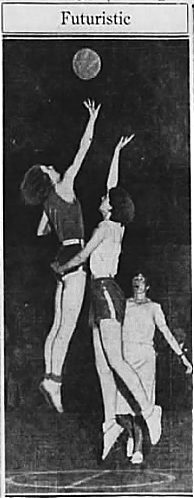 Image of twof female basketball players at a center jump with ball high in the air and the word Futuristic above them. High in the air on the left is said to be Olympics hopeful Bille Van Bremen of the EMporium team, on the right is Lil Leahy, Mauretian. Both of the Catholic Girls Club League of San Francisco. From the San Francisco Examiner, San Francisco, California, March 4, 1932.