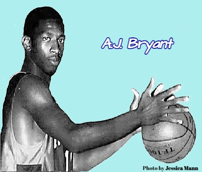 Picture of Florida boys basketball player A.J. Bryant, South Sumter High School, from chest up, holding basketball with both hands to his left. From The Orlando Sentinel, Orlando, Florida, April 1, 2001.
