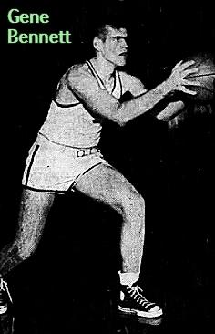Image of boys basketball player Gene Bennett, Miami Beach High School (Florida), shown lookimng to pass the basketball. From The Miami News, Miami, FLorida, February 24, 1952.