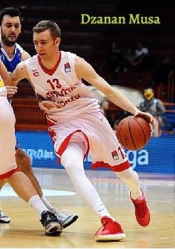 Action shot f #13, Dzanan Musa, Bosnia & Hezegovina U-17 basketball player, white uniform, red lettering.