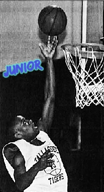 Alabama high school basketball player,Jerome 'Juniorrrr' Jones, allassee High in Montgomey, up above baske. From the Mmontgomery Advertiser, Montgomery, ALabama, February 9, 2007. Uncredited photo.