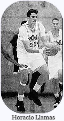 Image of Pima Comunity College (Arizona) basketball player,#32, Horacio Llamas. coming upcourt with the ball in a photo by David Sanders, from The Arizona Daily Star, Tucson, Arizona, February 23, 1994.