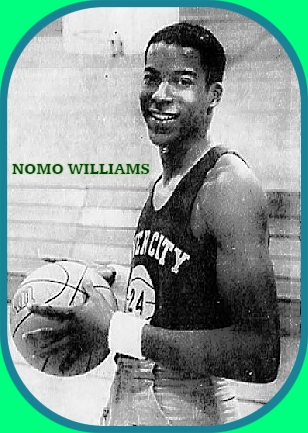 Image of Nomo Williams, River City Raider high school basketball player in Sacramento, California, number 24, side shot looking at camera, smiling, with bsketball. Photo by Skip Shuman, The Sacramento Bee, Sacto, Cal., December 26, 1984.