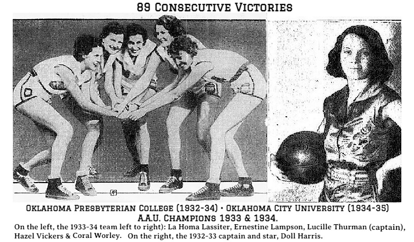 Images of the Oklahoma Presbyterian/Oklahoma City University team of the 89 straight victories, also stopped the Edmonton Grads 112 straight games. 89 straight 1932-33 to near end of 1935 season, two A.A.U. championships (1933 & 1934 during the streak. Pictured on the left is the 1933-34 team huddling, all joining hands, from left to right: La Homa Lassiter, Ernestine Lampson, Lucille Thurman (captain), Hazel Vickers and Coral Worley. From the Allentown Morning Call, Allentown, Pennsylvania, December 29, 1933. On the right is a side view of 1932-33 captain and team star (leading scorer), Doll Harris shown with basketball in silk jersy. From The Daily Oklahoman, Oklahoma City, Oklahoma, January 1, 1933.