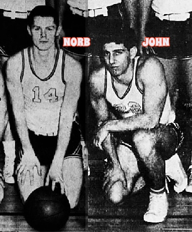 Cropped from team photo, Norb and John Ryan, twins, basketball players on the Pocono Mountains High School (Pa.) basketball team, Norb, #14 with both hands on knees, kneeling in back of basketball on floor, next to him, on right knee, kneeling, is #22, John Ryan. From The Daily Record, Strudsburg-East Stroudsburg, Pennsylvania, March 5, 1962..