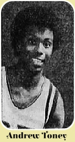 Portrait from shoulder up of a smiling Andrew Toney, Glenn High School, Birmingham, Alabama, basketball player. From The Daily Advertizer, Lafayette, Louisiana, May 6, 1976.